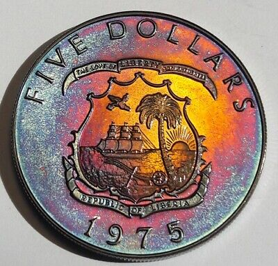 1975 Liberia Silver Five Dollars Proof Bu Unc Color Toned Coin