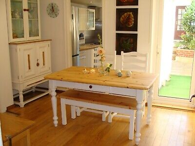 Shabby Chic  / Pine Dining Table 2 Chairs , Bench