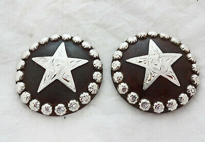 Sierra Star Concho Brown Iron Silver Berries Hansen Western Gear Pair Screw Back
