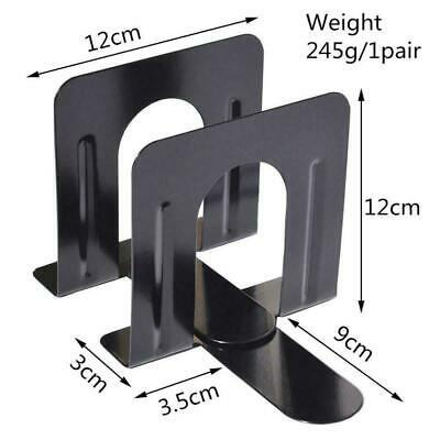 """Non Skid Bookends Solid Metal 120""""mm High One Pair Bookends 2 Black-Metal o B4P6"""