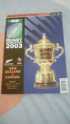 Rugby Union World Cup 2003 - New Zealand v Canada - Programme & Ticket