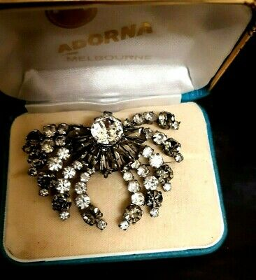 Vintage Antique Art Deco Fan Spider Shape Two Tone Pin Brooch With Rhinestone
