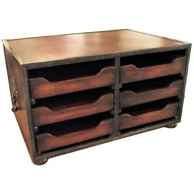 Theodore Alexander Mahogany and Leather 6 Drawer File Desk Organizer