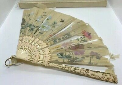 ANTIQUE TIFFANY & CO.  HAND FAN SATIN AND FRENCH Tiffany ORIG BOX