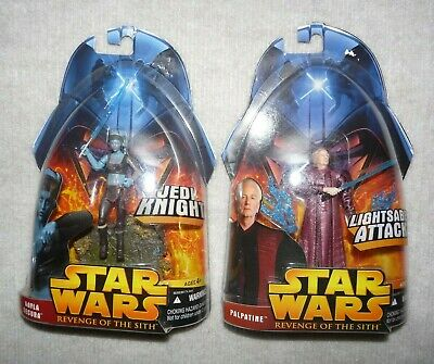 Lot of 2 Star Wars Figures Revenge of the sith Jedi Knight and LightSaber Attack