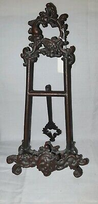 ANTIQUE EARLY 1900's CAST IRON PICTURE Holder With Kick Stand ORNATE