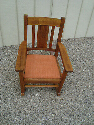 60196 Antique Child s Youth Doll  MIssion Oak Rocker Rocking Chair
