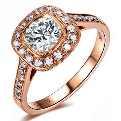 Women Silver Ring Cubic Zircon 18K Gold Plated   Engagement Wedding Band Ring