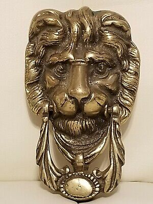 Vintage Solid Brass Door Knocker Lion Head Art Deco