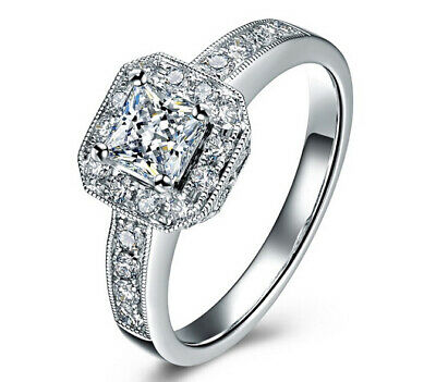 Lady Silver Ring Cubic Zircon 18K Gold Plated Jewelry Diamond Engagement Wedding