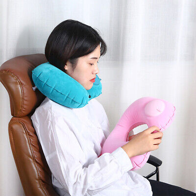 U Shape Travel Neck Pillow Airplane Head Cushion Multi Color Inflatable Portable