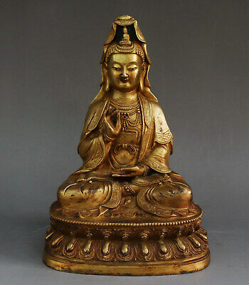 Chinese Exquisite Handmade Guanyin copper Gilt statue