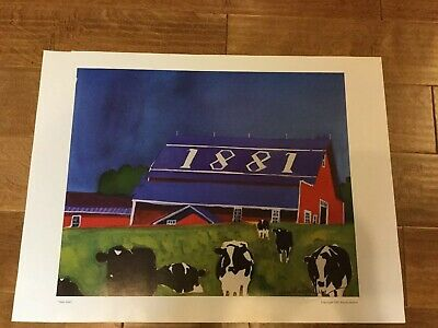 """Signed Woody Jackson Cows Grazing 2001 """"Slate Date"""" Print"""
