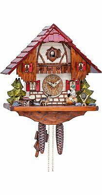 Cuckoo Clock Black Forest house with moving beer drinker KA 1646 EX NEW