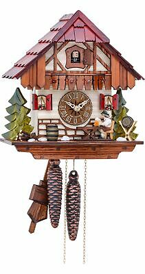 Cuckoo Clock Black Forest house with moving beer drinker KA 1640 EX NEW