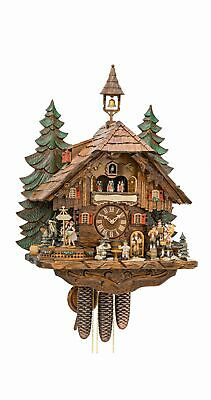 Cuckoo Clock  with moving dancers, musicians and beer drinker.. KA 3741/8 EX NEW