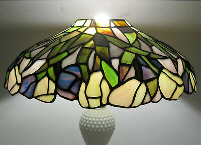 "STUNNING Vtg TIFFANY Style Stained Glass LAMP SHADE Slag 14.5"" x 5"" ART NOUVEAU"