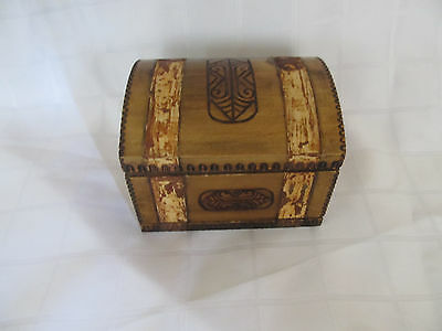 Old Vintage Wooden Jewelry Hand Carved Jewelry Box Case