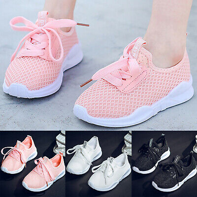 Children Kids Lace Up Mesh Sneakers Shoes Boy Girls Casual Running Sport Trainer