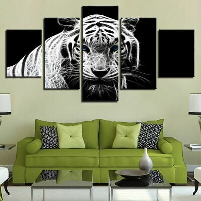 5PCS Tiger Modern Art Oil Painting Canvas Print Wall Picture Home Decor Unframed