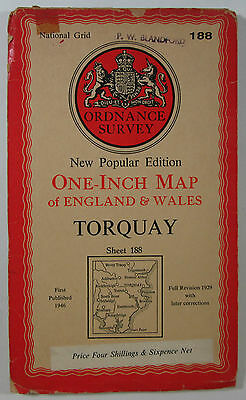 1954 Old OS Ordnance Survey New Popular Edition One-Inch Map 188 Torquay - paper