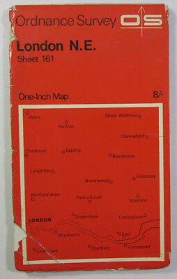 1968 Old Vintage OS Ordnance Survey One-inch Seventh Series Map 161 London N E