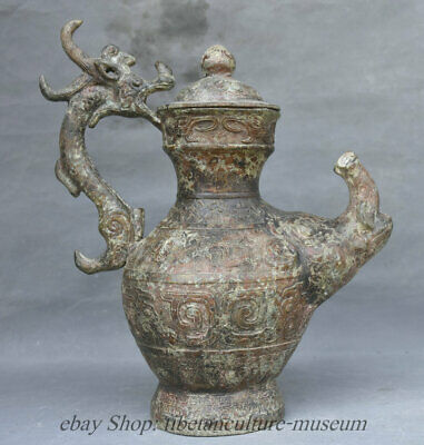 Old Chinese Bronze Ware Dragon Loong Beast Statue Wine Tea Pot Flagon Hip flask