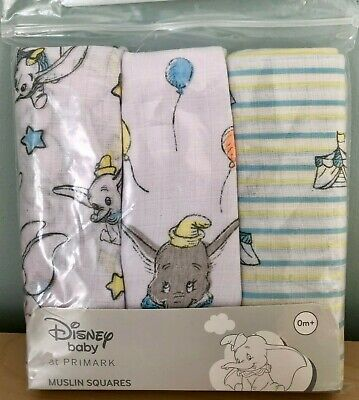3 x DISNEY DUMBO ELEPHANT BABY MUSLIN SQUARES BURP CLOTH BIB UNISEX NEW PRIMARK