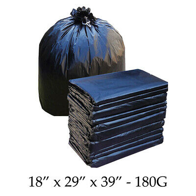 Black HEAVY DUTY Refuse Sacks Bin Liners Rubbish LARGE Size Bags 180G Thick