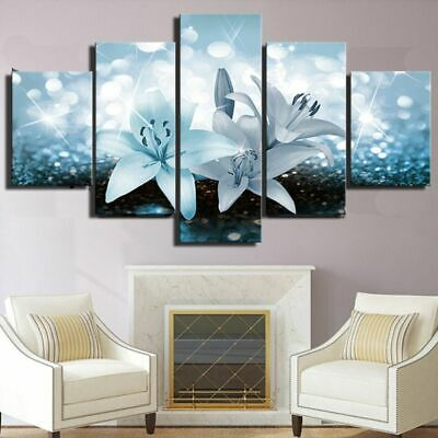 5PCS Lily Modern Art Oil Painting Canvas Print Wall Picture Home Decor Unframed
