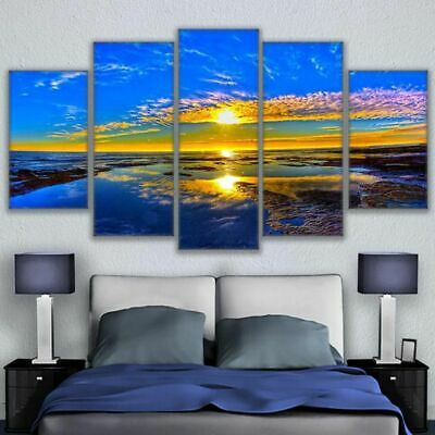 5PCS Sea Modern Art Oil Painting Canvas Print Picture Wall Home Decor Unframed
