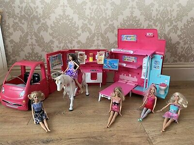 Barbie Glam Camper, Walking Horse & Doll Bundle