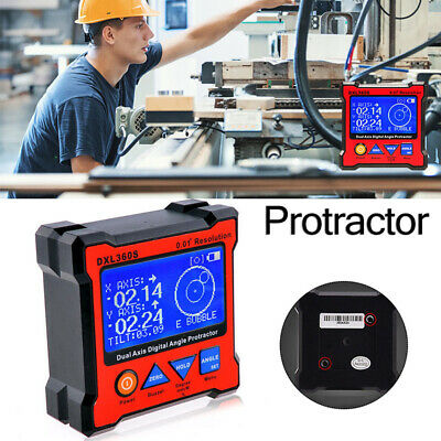 DXL360S Dual Axis Digital LCD Angle Protractor 5Side Magnetic Base Level Measure