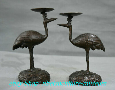 "5"" Old Chinese Bronze Animal Crane Statue Pair Candle Holder Candlestick"