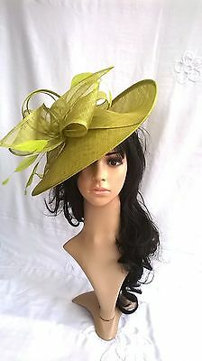 Lime Green Sinamay Hatinator.hat.Large shaped saucer disc Wedding.races.