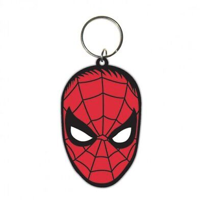Spiderman Face Head Retro Marvel Red Eyes Rubber Keyring Keychain Official
