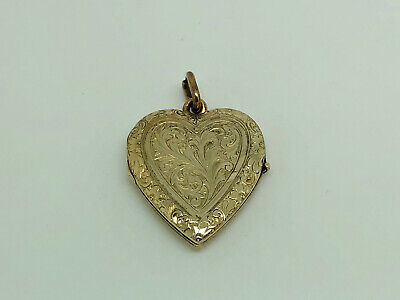 Gorgeous Antique Victorian Gold Back & Front Foliage Engraved Heart Locket