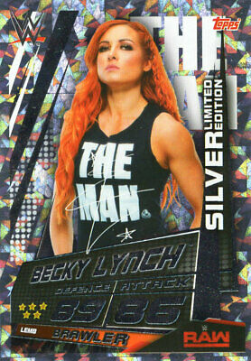 TOPPS WWE SLAM ATTAX UNIVERSE - BECKY LYNCH SILVER LIMITED EDITION CARD LEMb
