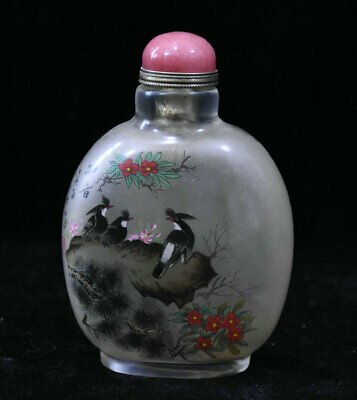 "4"" Old Chinese Palace Colored Glaze Painted Handmade Flower Bird Snuff Bottle"