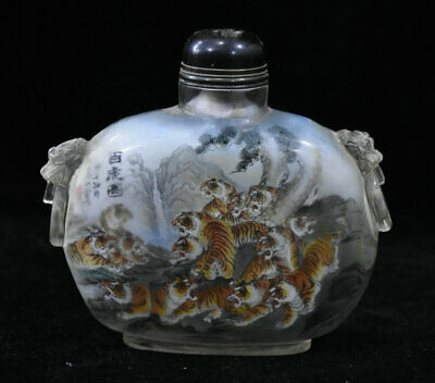 12CM Old Chinese Glass Inner Painting pine tree Tiger Beast Head snuff bottle