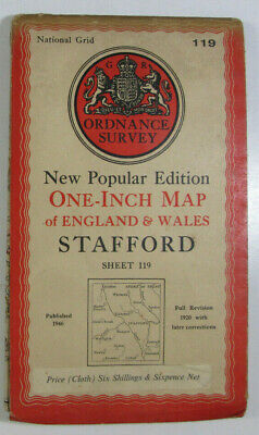 1946 Old OS Ordnance Survey New Popular Edition One-Inch CLOTH Map 119 Stafford