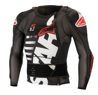 Alpinestars Sequence Body Armour Suit Jacket ACU APPROVED Black White Adult