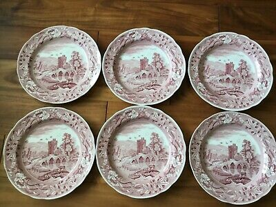 """Spode Red White Pink Set Dinner Plates X 6 Lucano Archive Collection England 10"""""""