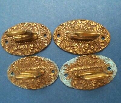 4 ?Brass Curtain Tie Backs embossed well made good condition 7cm long 4.2cm wid