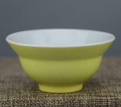 chinese old handmade Yellow glaze porcelain Kung fu cup 0431