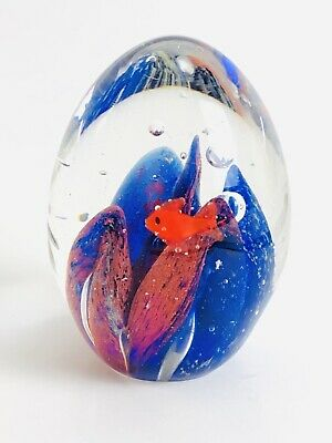 Vtg Glass EggFish Aquarium Nautical  Paperweight Blue Red Hand Blown Bubble