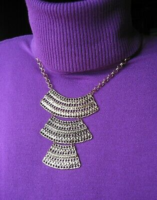 Vintage Egyptian Cleopatra Style Multi Layer Necklace / Bronzed Gold-Tone