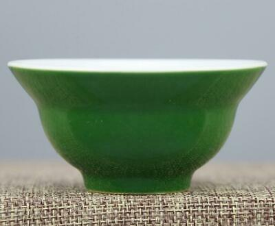 chinese old handmade Green glaze porcelain Kung fu cup 04235