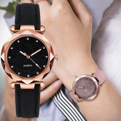 Women PU Leather Rhinestone Analog Quartz Casual Wrist Watches Bracelet Gift