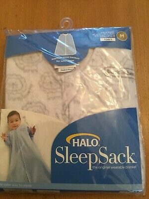 BNWT HALO  SLEEP SACK WHITE AND GREY 6-12 Months